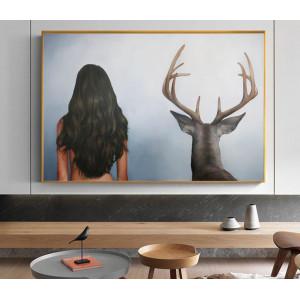 Картина Девушка с оленем №601