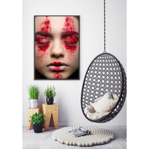 Картина Девушка в красной краске №606