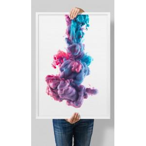 Картина карсно-голубая Танец красок №608