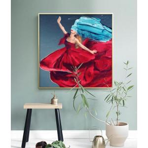 Картина Женщина в красном платье №652