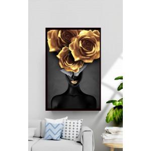 Картина Девушка с золотыми цветами на голове №660