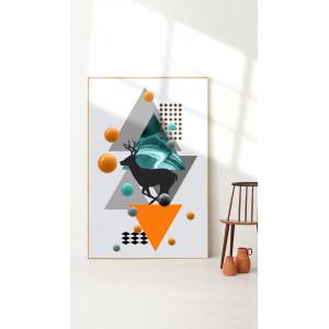 Картина Абстракция с треугольниками №668