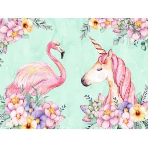 Ковер в детскую Фламинго и единорог в цветах