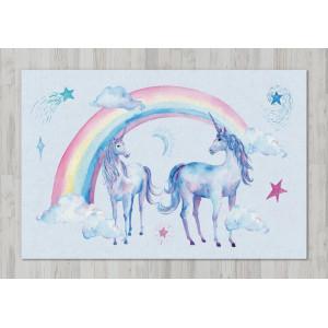 Ковер в детскую Единороги с радугой
