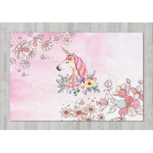 Ковер в детскую Единорог на розовом фоне