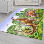 Ковер в детскую Динозавры в зеленом лесу