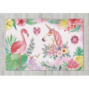 Ковер в детскую Фламинго с единорогом в тропиках