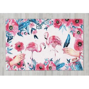 Ковер в детскую Фламинго с ропическими листьями