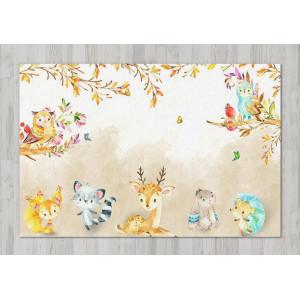 Ковер в детскую Животные на бежевом фоне