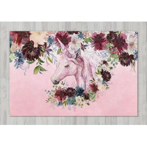 Ковер в детскую Единорог в цветах