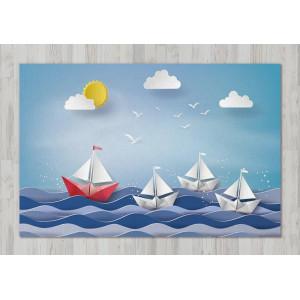 Ковер в детскую Бумажный кораблик на волнах