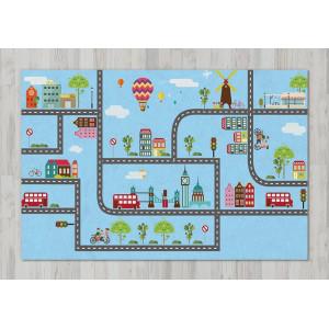 Ковер в детскую Город с дорогами на голубом фоне