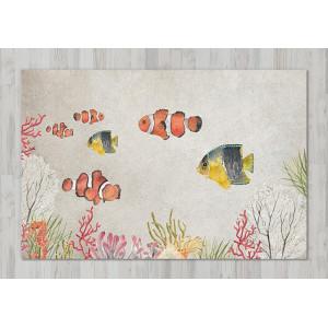 Ковер в детскую Рыбки на сером фоне