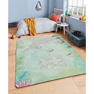Ковер в детскую Единорог на зеленом фоне