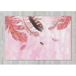 Ковер Перья на розовом фоне