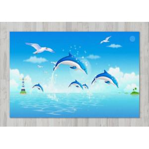 Ковер в детскую Дельфины и чайка