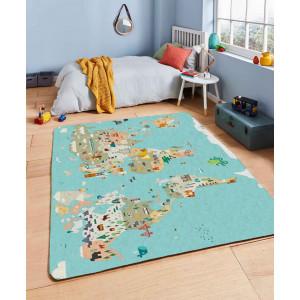 Ковер в детскую Карта мира на бирюзовом фоне