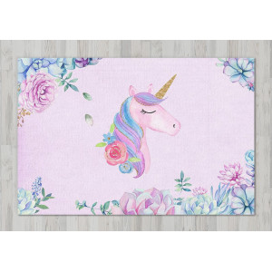 Ковер в детскую Единорог в цветах на розовом фоне