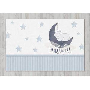Ковер в детскую Мишка на Луне со звездами