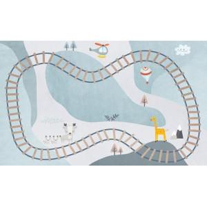Детский ковер железная дорога со зверятами