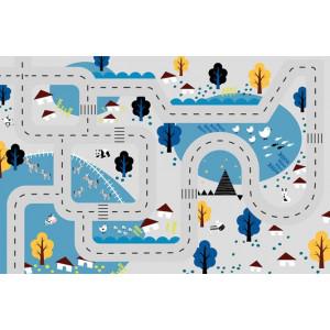 Ковер в детскую Автотрасса на синем фоне