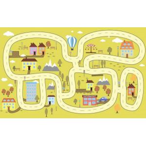 Ковер детский с дорогами на желтом фоне