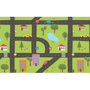 Ковер в детскую Автомобильная дорога в городке