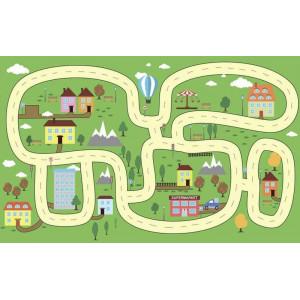 Ковер в детскую Рисунок дороги на зеленом фоне