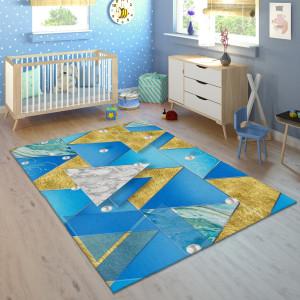 Ковер в детскую Сине-золотые треугольники