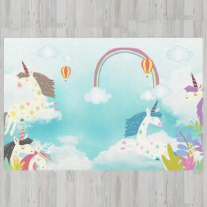 Ковер в детскую Единороги в облаках с радугой