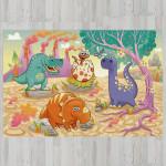 Ковер в детскую Динозавры на фоне вулканов