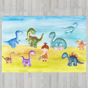 Ковер в детскую Динозавры с мальчиком