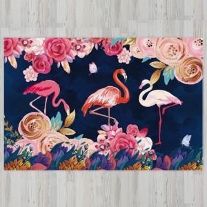 Ковер в детскую Фламинго на синем фоне с цветами