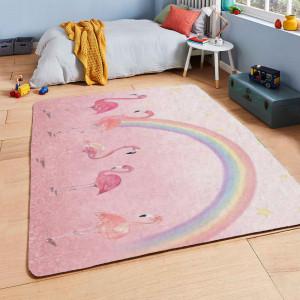 Ковер в детскую Фламинго на фоне радуги