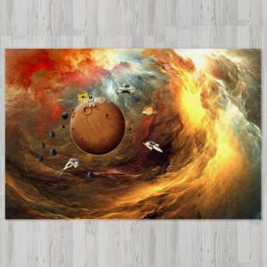Ковер в детскую Оранжевая буря в космосе