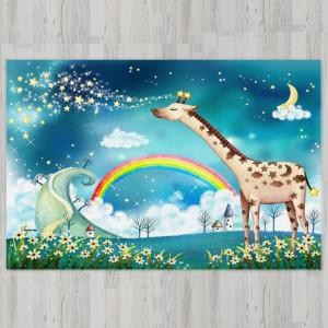 Ковер в детскую Жираф с радугой