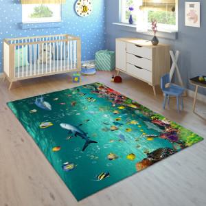 Ковер в детскую Акулы на морском дне