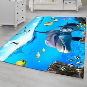 Ковер в детскую Дельфины с океане
