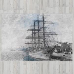Ковер в детскую Рисунок корабля