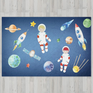 Ковер в детскую Космонавты в космосе