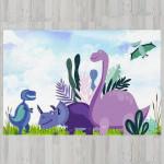 Ковер в детскую Синие динозавры