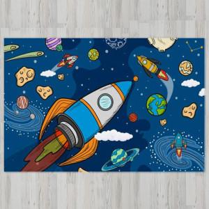 Ковер в детскую Ракеты в космосе