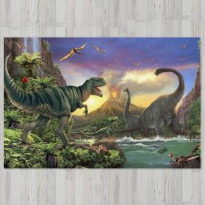 Ковер в детскую Динозавр Рекс на фоне вулкана