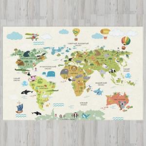 Ковер в детскую Карта мира с воздушными шарами