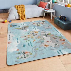 Ковер в детскую Карта мира на синем фоне