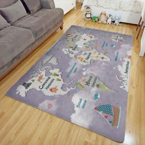 Ковер в детскую Карта мира на фиолетовом фоне