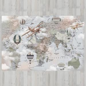 Ковер в детскую Карта мира с границами
