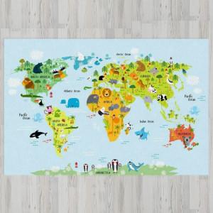 Ковер в детскую Яркая карта мира