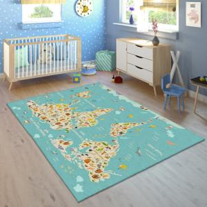 Ковер в детскую Бирюзовая карта мира