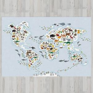 Ковер в детскую Карта мира с животными